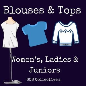Designer, vintage, boutique and brand name tops.